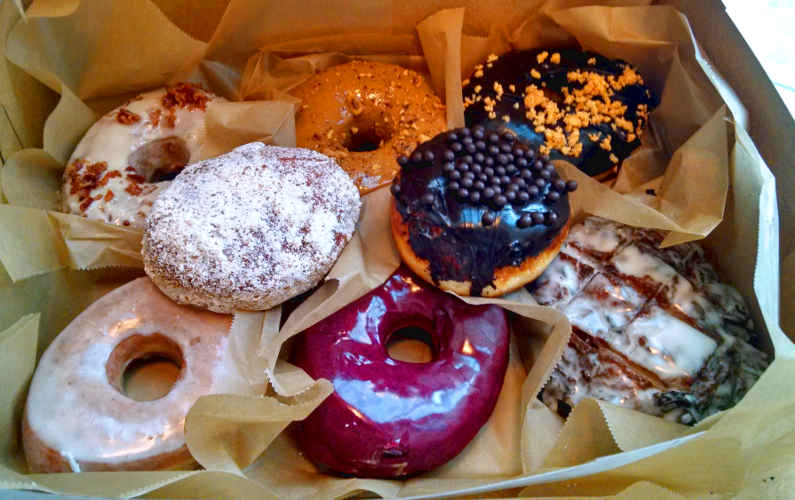 Portland box of artisnal Blue Star Donuts